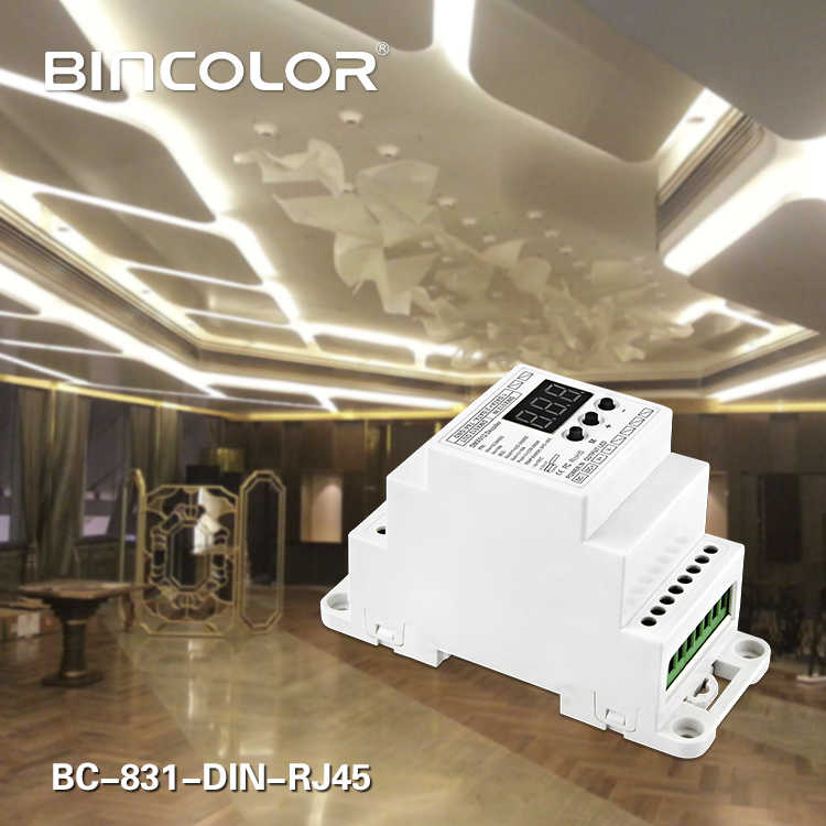 BC-831-DIN-RJ45 DC12-24V вход 10A * 1CH выход, постоянное напряжение din-рейку DMX512 декодер цифровой дисплей трубки для Светодиодные полосы