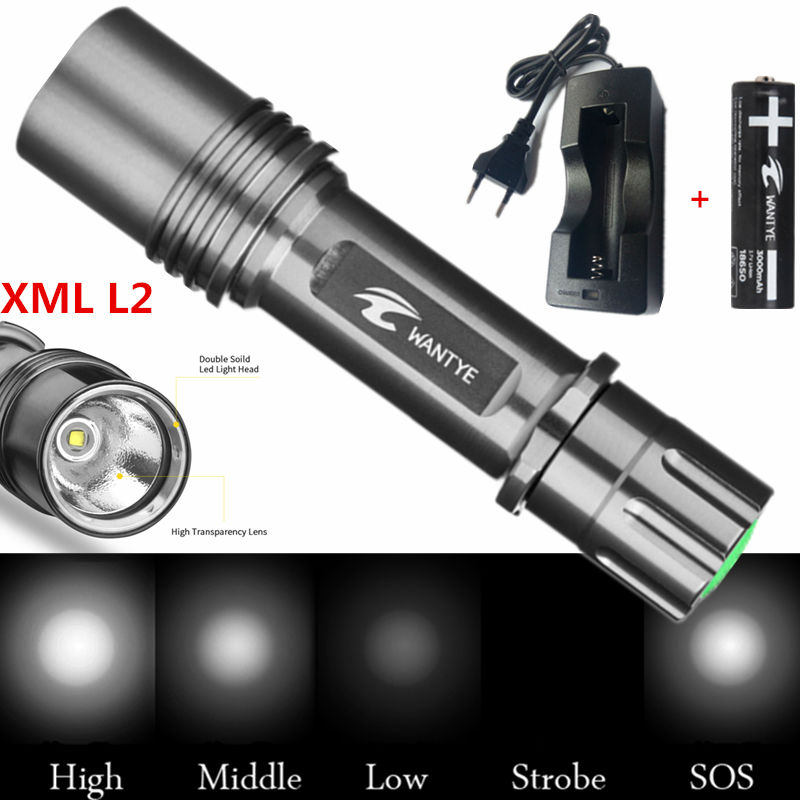 Best Mini XML L2 4000 Lumens 18650 LED Flashlight Torch Self defense 5Modes Camping light lamp+18650 battery+Charger high lumen led flashlight 4 2v cree xml t6 2 18650 battery 5 modes focalize flash lamp 2 18650 batteries battery charger