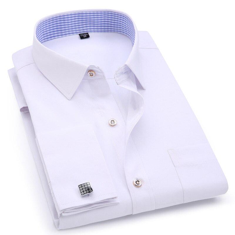 ee404833cc Camisas de Vestido dos homens Cuff Francês Azul Branco de Manga Comprida  Camisa Business Casual Slim Fit Cor Sólida manga da Camisa Abotoaduras  Francês ...