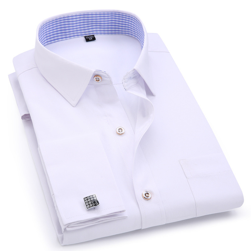 Men's Dress Shirts French Cuff Blue White Long Sleeved Business Casual Shirt Slim Fit Solid Color French Cufflinks Shirt-in Dress Shirts from Men's Clothing