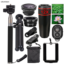 Girlwoman 10 In 1 12X Zoom Universal Phone Camera Lens Travel Kit For iphone x 8 Smartphone Telephoto Lens Fish Eye Tripod stand