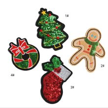 DIY Sequin Patch Christmas tree Ginger Man Baby stocking Bowkont iron on clothes patches 3D Stickers Applique Embroidery Hipster(China)