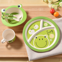 Kids Bamboo Dinnerware Sets Toddler Separated Feeding Tableware Suit Baby Dinner Box 5 Piece