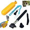 Cinco-en-un kit de Accesorios GoPro Selfi Palillo Monopod + Trípode Flotante Bobber + adaptador de Montaje Negro Sj4000 hero4 Go pro Hero 4 3
