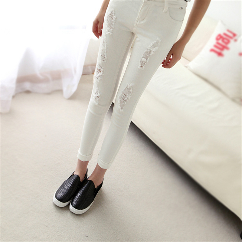 DoreenBow New Pencil Pants Ripped Fashion High Waist Jeans Women Denim Fabric Hollow Out Black White Trousers, 1 Piece