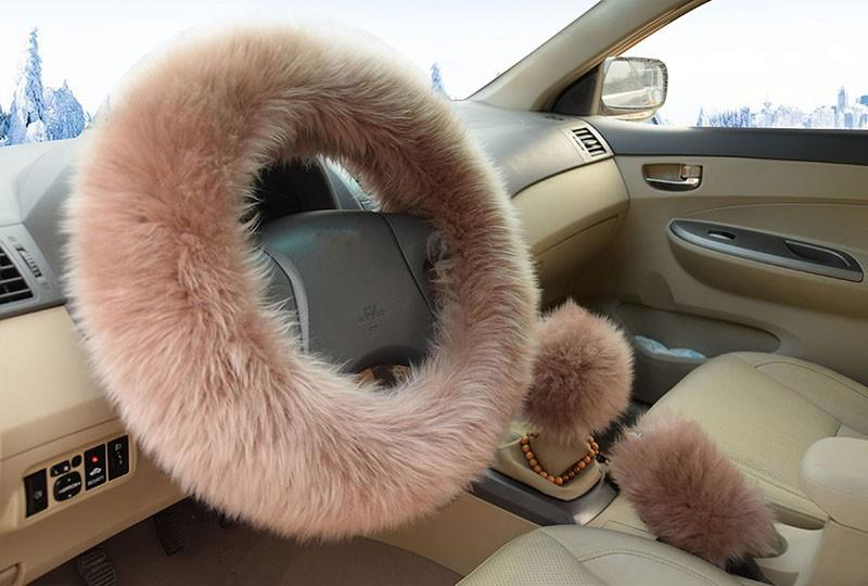 Winter Warm Wool Handbrake Cover Gear Shift Cover Steering Wheel Cover 38cm diameter 1 Set 3 Pcs 2