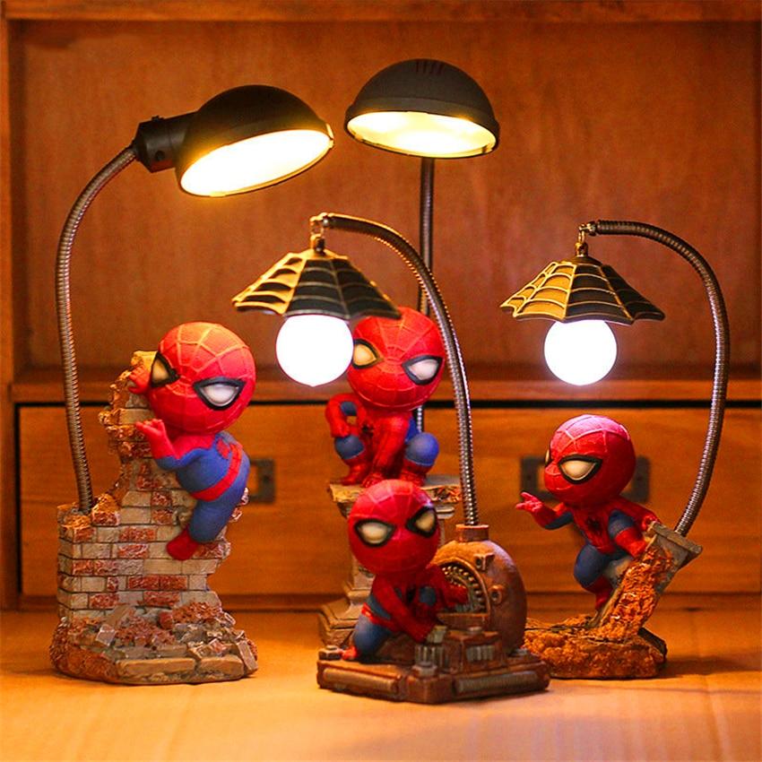 Modern LED Night Lights Avengers Alliance 4 Figures Spider Man Lamp Resin Children Bedroom LED Night Lamp Boy Kid Birthday Gift