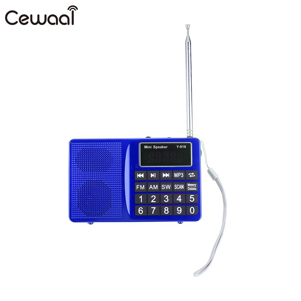 Digital Mini FM AM SW LCD Display Radio Speaker MP3 Player with AUX USB Cable