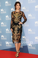 2014 New Short Evening Dress Selena Gomez Long Sleeves Sheath Lace Appliques Red Carpet Colorful Party