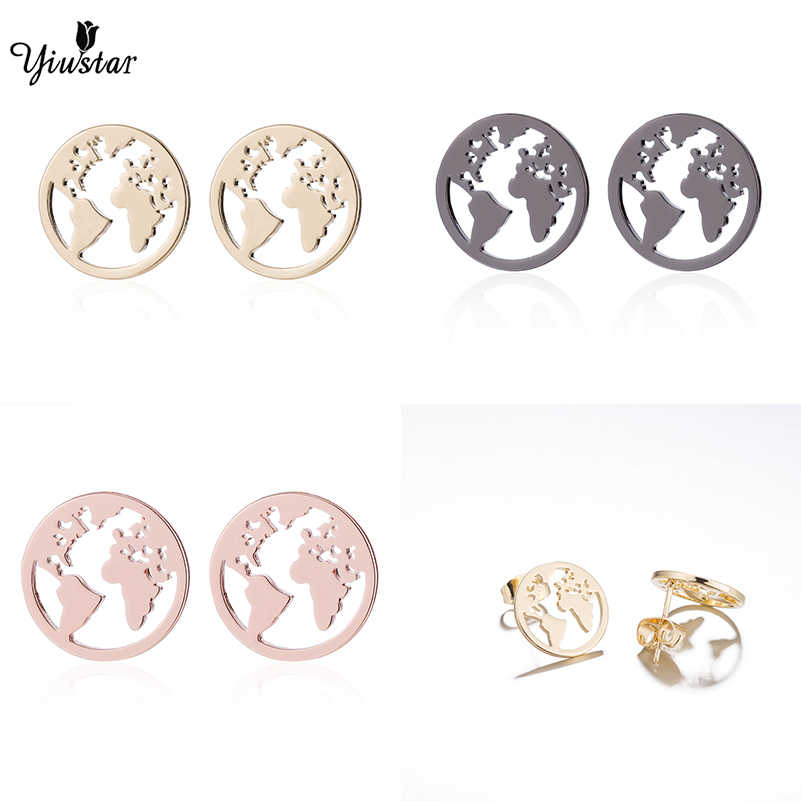 Yiustar Brilliant Colorful World Map Earring Travel Gifts Vintage Earth Round Stud Ear Female Jewelry For Women Girls Party Gift