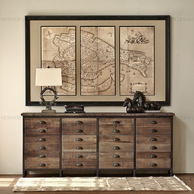 American Country To Do The Old Furniture Loft Style Vintage Wood Entrance  Doors Cabinet Office Console