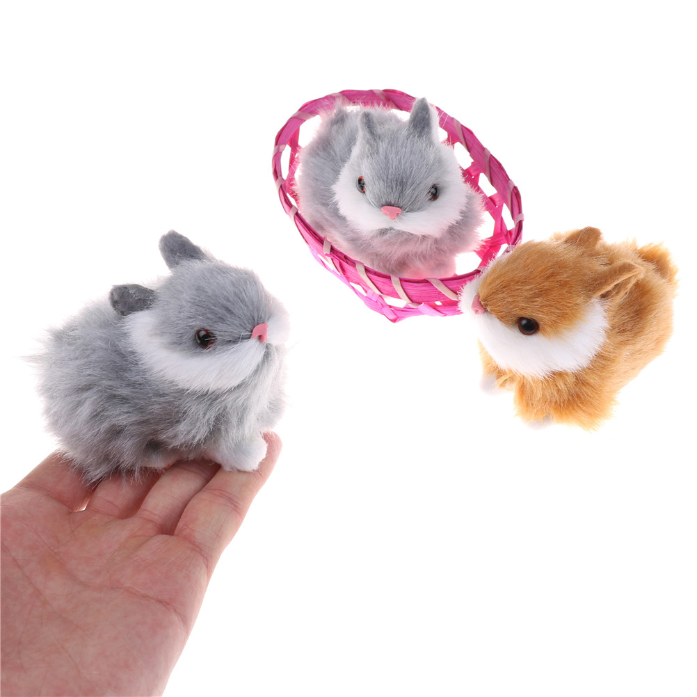 Pretty Cute Hare Rabbits In Basket Furry Craft Collectible Gift For Children Kids Plush Toys Hot Sale