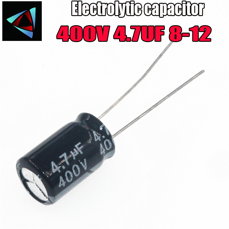 12PCS Higt Quality 400V 4.7UF 8-12mm 4.7UF 400V 8*12 Electrolytic Capacitor