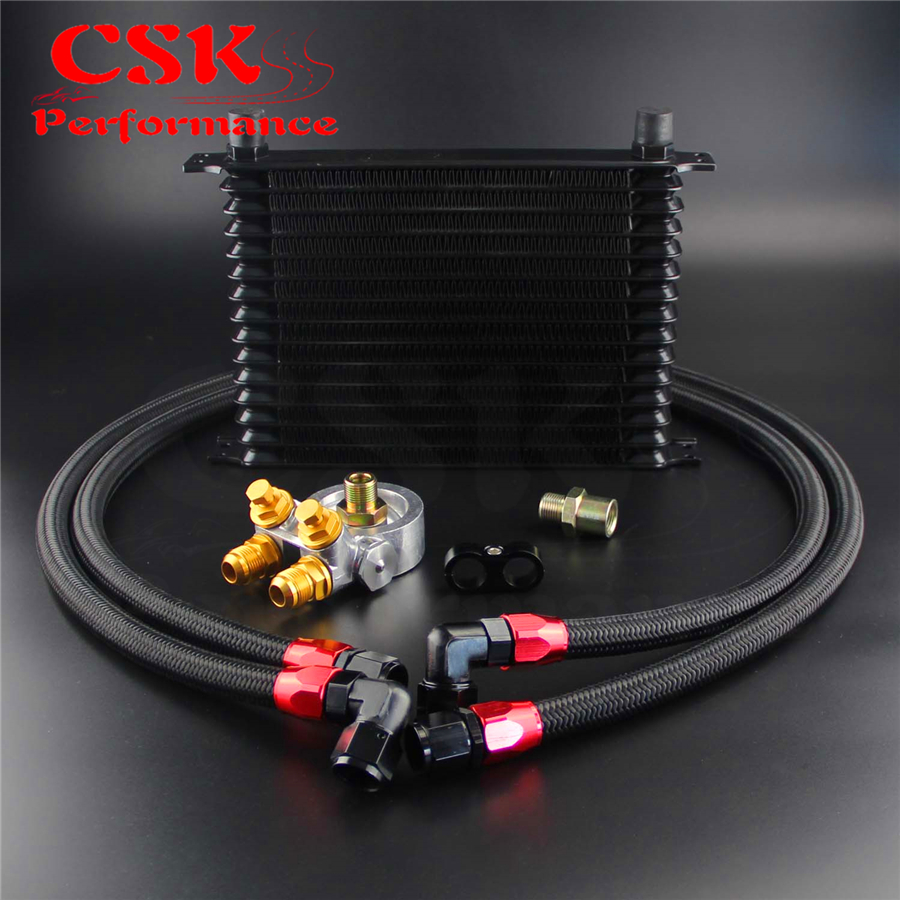 15 Row Engine Racing Trust Oil Cooler Thermostat Adapter hose Kit For Japan Car/Truck Blue/ Black/ Gold 10 row thermostat adaptor engine racing oil cooler kit for car truck black