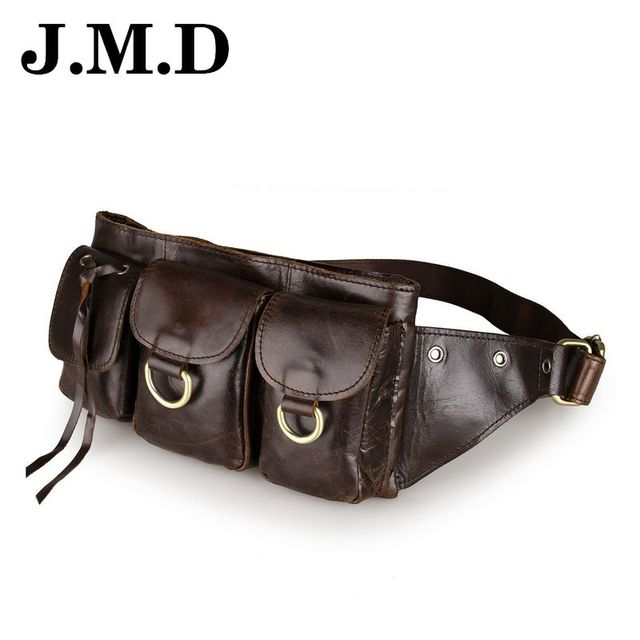 JMD 2017 New Style Genuine Leather Men's Multifunction Travel Bags Funny Chest Pack Men Waist Pack Quality Men Waist Bags JD046