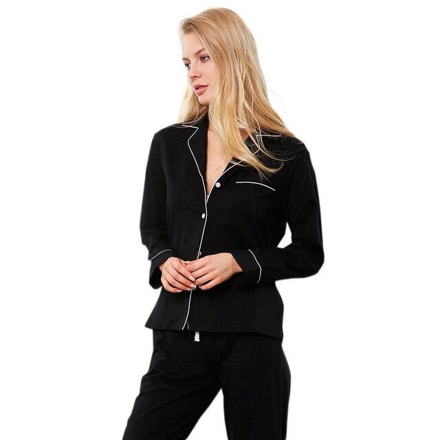 Hot sale simple 100% cotton women pajamas sets sexy black Long sleeve women pijamas 2019 New quality sleepwear women