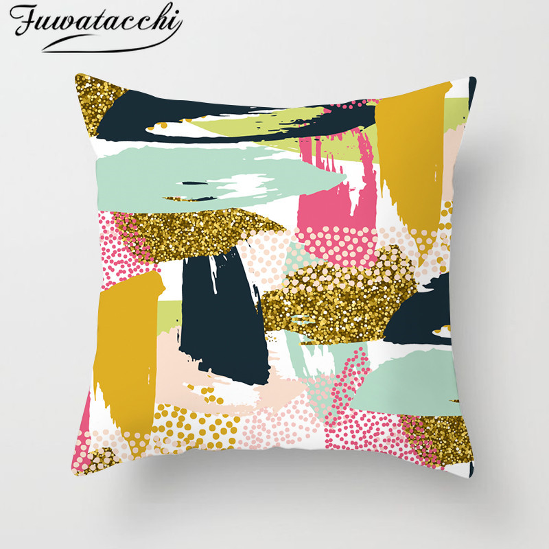 Fuwatacchi Geometric Striped Gold Line Cushion Cover Oil Paintings Throw Pillow Colorful Pattern Pillowcases