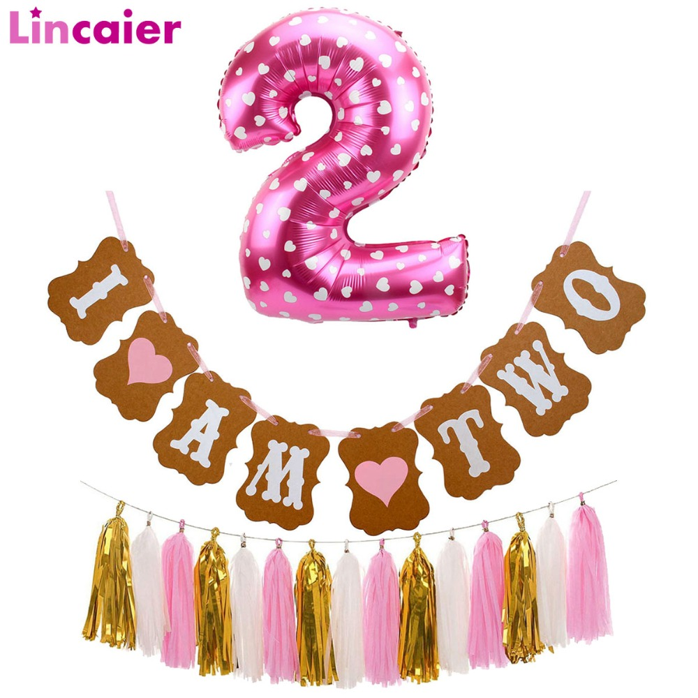 Digital Gear Bags I Am Two Kraft Paper Banner And Number 2 Foil Balloons 2 Years Birthday Boy Girl 2nd Party Decoration Second Bunting Garland