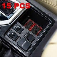 15PCS Rubber Non Slip Interior Door Mat For Toyota Land Cruiser Prado 2010 2015 Accessories