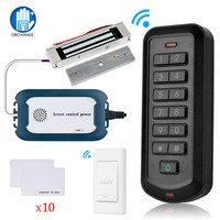 2.4G Wireless Door Access Control System Kit RFID Keyboard DC12V 3A Power Supply + Electric Locks Magnetic Strike Gate Opener