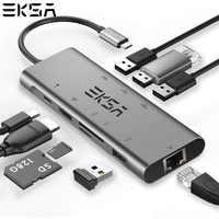 EKSA USB-C moyeu Type C moyeu vers USB 3.0 RJ45 HDMI USB2.0 PD adaptateur de charge SD/TF Solt pour MacBook Pro Samsung Galaxy S9 USB C moyeu
