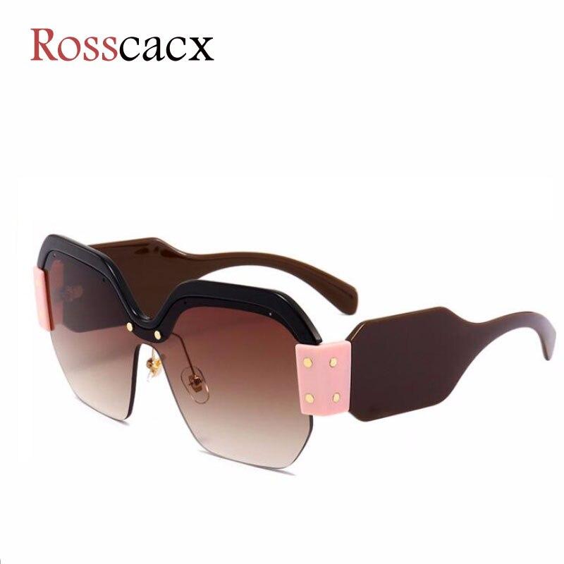 Rosscacx Luxury Polygon Half Frame Women Sunglasses Square Pink Blue Brand Designer Oversized Superstar Sun Glasses For Women
