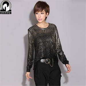 PZXZQ Design Knitted Sweater Blouse Loose Pullover Female cab322463d6b9