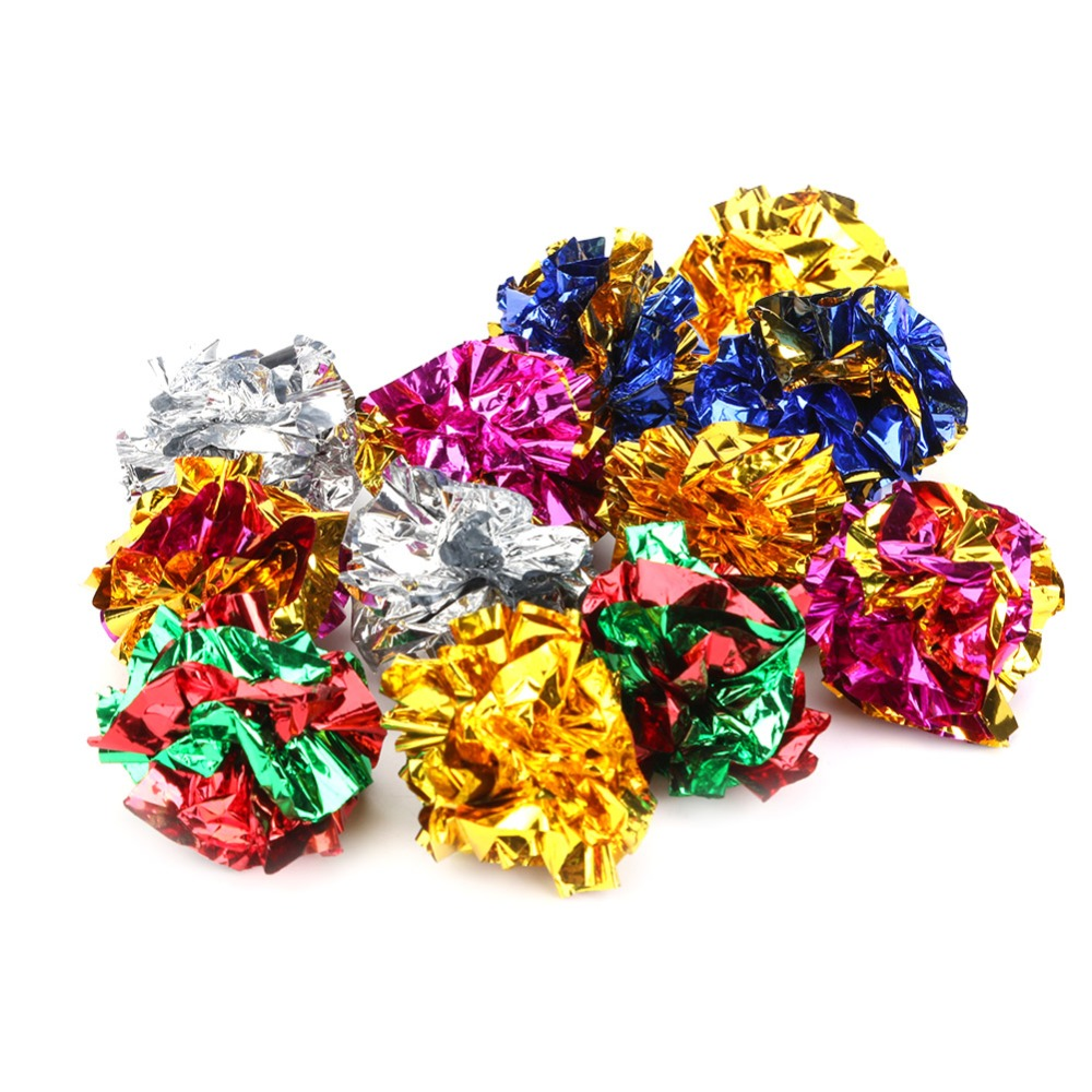 1/12Pcs Cat Mylar Crinkle Balls Toy Interactive Sound Ball Big Plastic Crackle Ring Paper Kitten Pet Play Toys