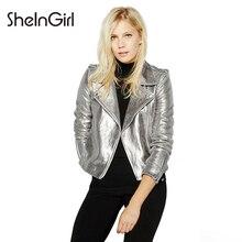 SheInGirl  Women PU Jacket Coat Silver 2017 Autumn Casual Patchwork Bomber Jacket Brief Zipper Button Long Sleeve Biker Coat