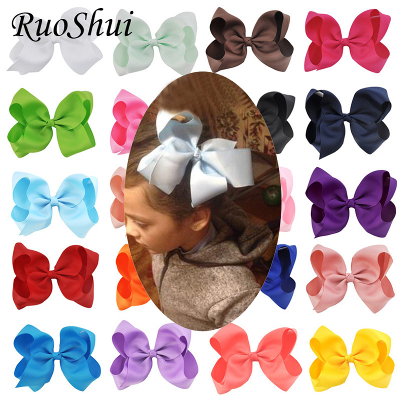 Fashion 6 Inch Cute Boutique Hair Pin Grosgrain Ribbon Bows Hairpins Little Girl Bows Hair Clips Kids Headwear Accessories New