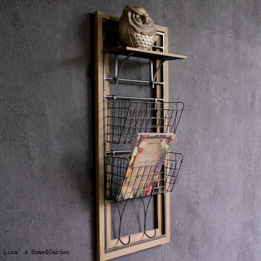 hand crafted wood metal antique wall shelf with hooks