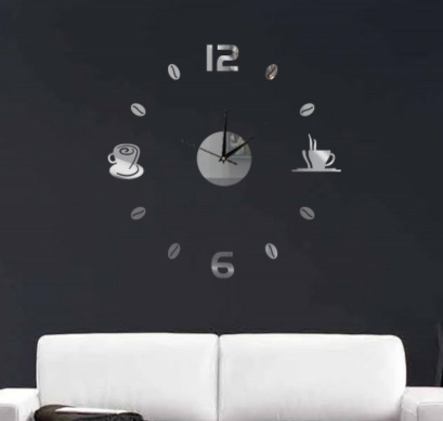 € 7.04 40% de DESCUENTO|Funlife (TM) DIY tazas de café cocina bar pared  arte espejo reloj diseño moderno relojes silenciosos decoración del hogar  ...