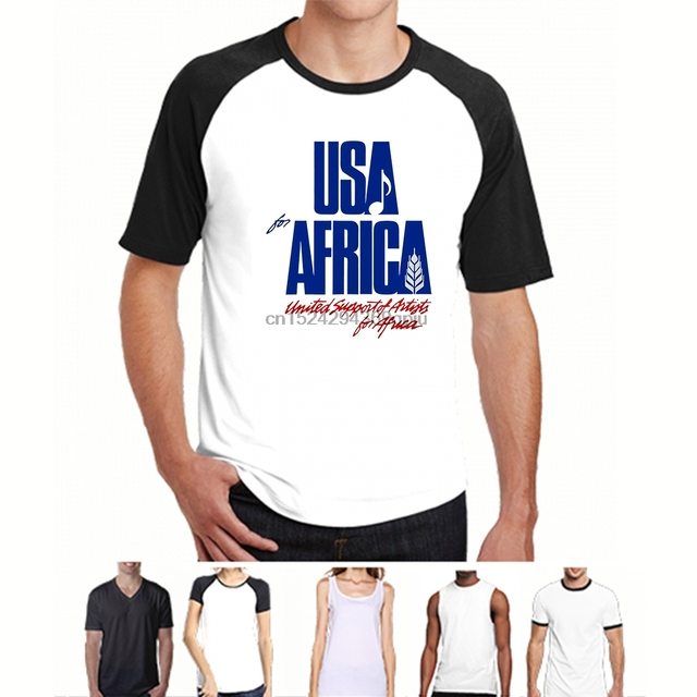 a8e2990c Men T shirt We Are the World Anniversary USA for Africa United Artists s  Round Neck Bottoming Tops women
