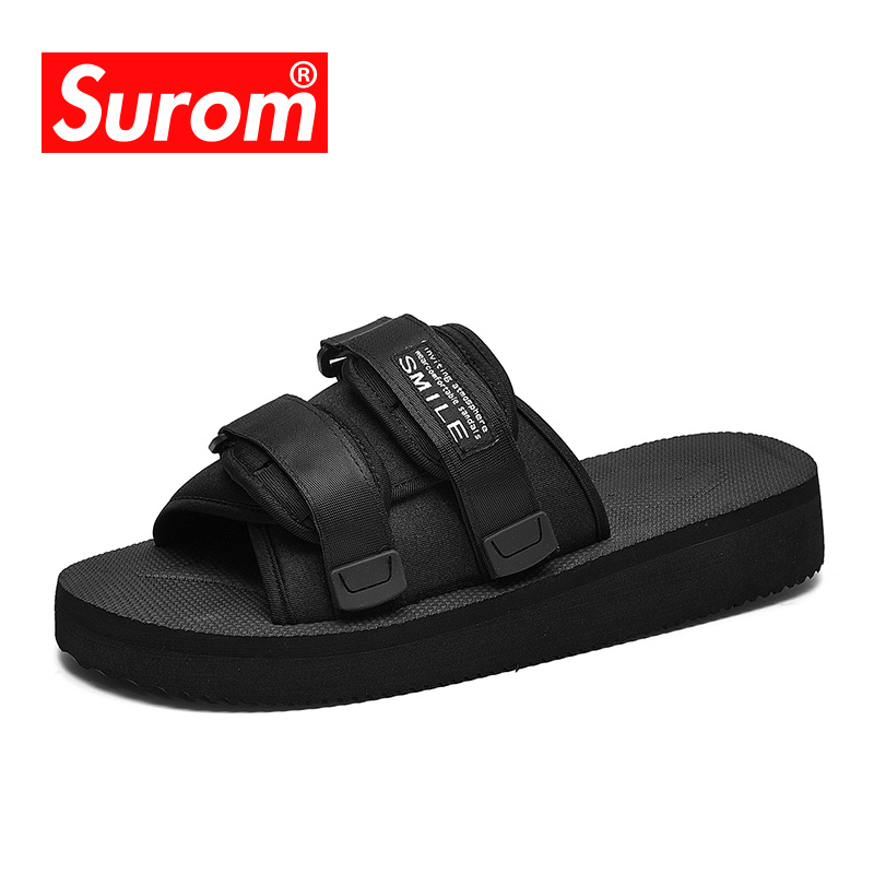 SUROM Soft Comfortable Flip Flops Fashion Outdoor Sea and Beach Casual Men Slipper Black White Home
