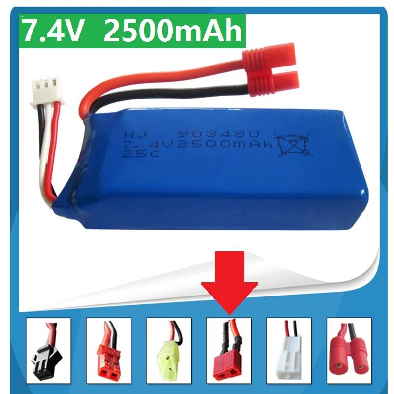 7.4V 2500mAh 25c For Syma X8W Quadrocopter High Capacity Model Aircraft Rechargeable Lipo Battery For T Plug Of NO:4 2S Battery