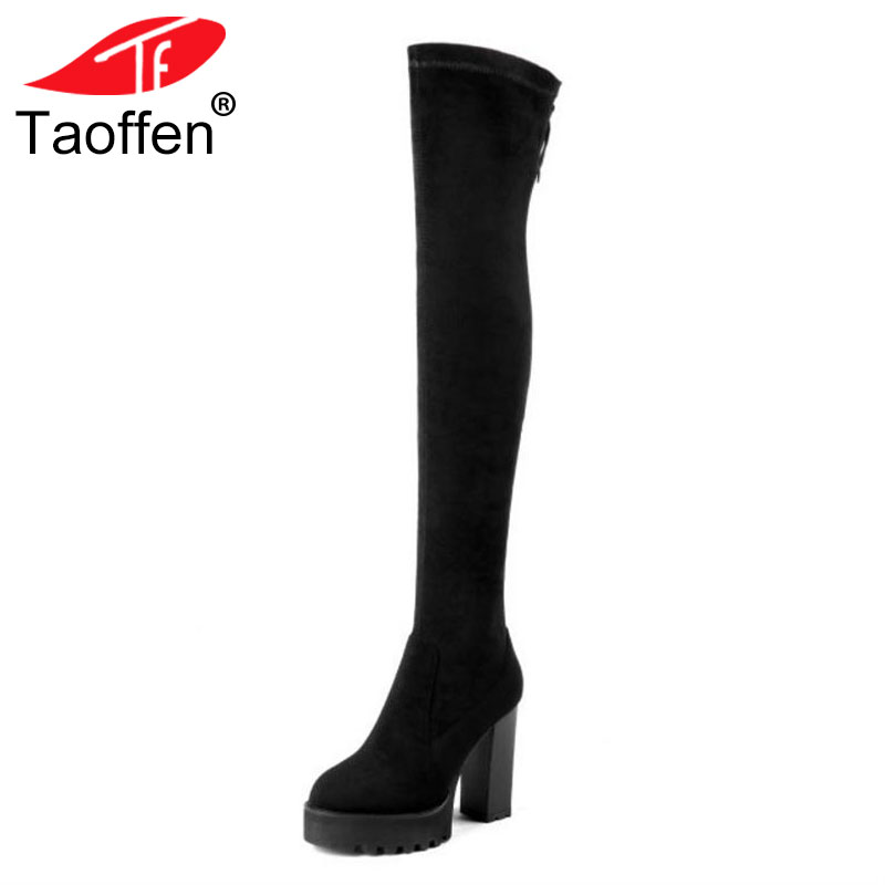 TAOFFEN High Heels Boots Women Genuine Leather Boots Winter Shoes Ladies Thigh High Boots Fashion Sexy Boots Footwear Size 34-39TAOFFEN High Heels Boots Women Genuine Leather Boots Winter Shoes Ladies Thigh High Boots Fashion Sexy Boots Footwear Size 34-39