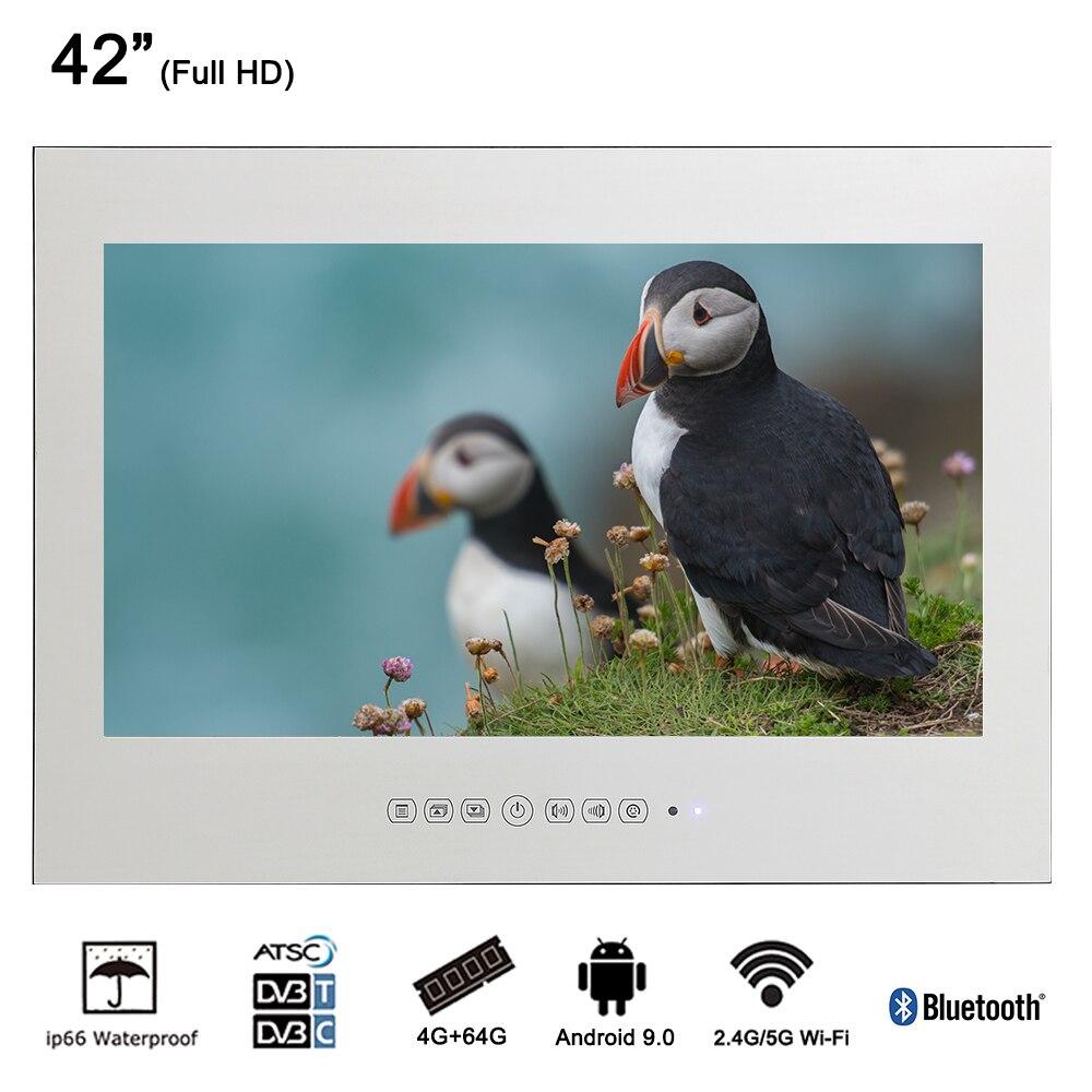 Souria 42 дюйма настенный монитор Android бассейн светодиодный ТВ душ подкладке водонепроницаемые телевидения (черный/зеркало)