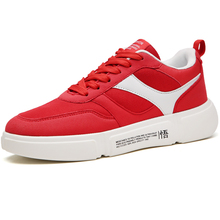 Купить с кэшбэком High Quality Brand Men Walking Shoes Red Sneakers Footwear Autumn Male Sport Shoes Thick Sole Rubber For Men Shoes Breathable
