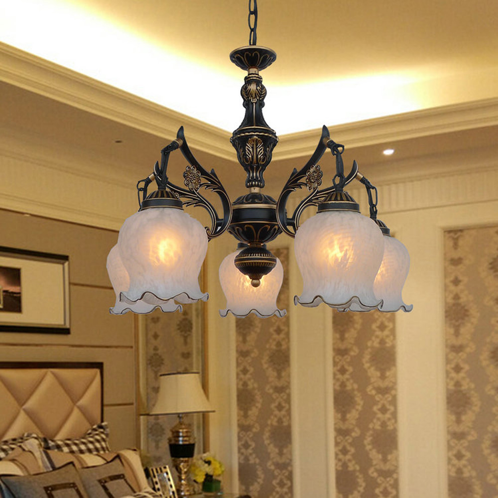 Nordic Vintage Chandelier on The Ceiling E27 Bulb 110V-220V Home Lighting Suspension Loft Style Led Antique Iron Chandeliers hghomeart country style antique iron chandelier e27 led bulb 110v 220v vintage lamp home lighting modern dining room chandeliers