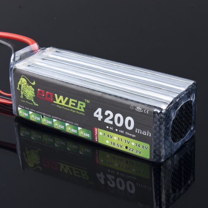 Lion Power Lipo Battery 22.2V 4200MAH 30C For Rc Jelicopter and RC Car 6S Lipo Battery T Plug gdszhs power 22 2v 6000mah lipo battery 30c 6s battery lipo 22 2v 6000 mah 30c 6s lithium polymer batterie for rc car