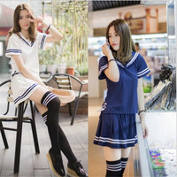 A New Explosion Of Short Sleeved Japanese Sailor Suit Lady Pleated Skirt Suit For Students Japanese