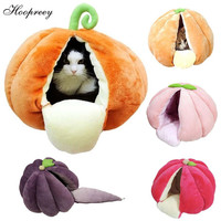 Cute Fruits Shape Cat Bed Soft Fleece Cat Cave Kennels Winter Warm Semi closed Cat House Yurt for Small Puppy Dogs and Cats 10A