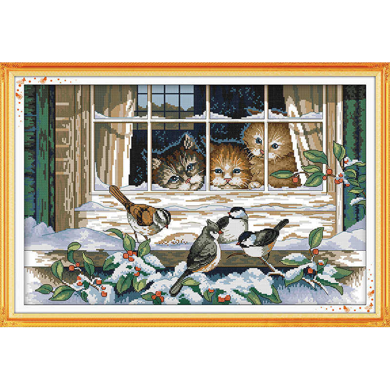 Everlasting love Christmas Landscape out of the window Chinese cross stitch kits Ecological cotton 11 New store sales promotion