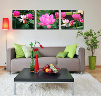 realist 3 pieces landscape water lily print painting modern home decoration bathroom wall art and decor cheap canvas art