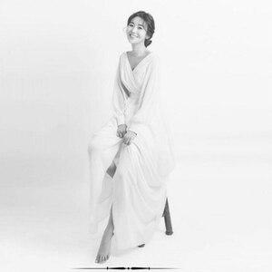 Image 5 - ארוך שרוול שיפון כלה שמלות כלה 2018 מאוחר הקיץ בוהמי חוף Vestido דה Noiva פיות קוריאה Gelinlik ZW056