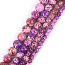 0ac832adaea7 Ronda Natural Purple mar sedimentos turquesas Imperial Jaspers piedra perlas  para joyería hacer pulsera joyería 4 6 8 10mm 15