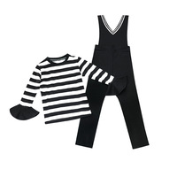 girls clothes sets 2018 new spring kids clothes top long flare sleeve striped t shirt+black bib pants 2pcs girl sportswear 4 15T