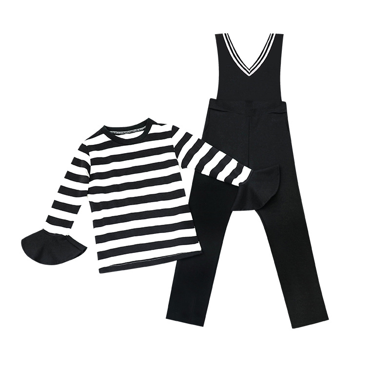 girls clothes sets 2018 new spring kids clothes top long flare sleeve striped t shirt+black bib pants 2pcs girl sportswear 4-15T 2pcs children outfit clothes kids baby girl off shoulder cotton ruffled sleeve tops striped t shirt blue denim jeans sunsuit set
