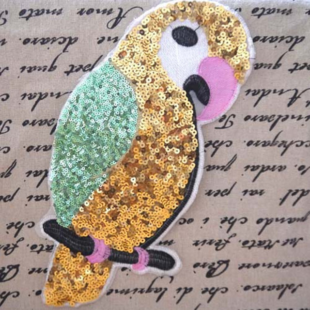 Cartoon Parrot Bird Sequined Patch For Clothing Embroidery Patches