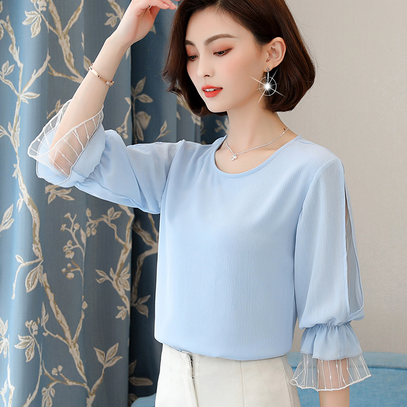 159d51bb91120 2018 New Summer Women Shirts Lantern Sleeve Patchwork Mesh Chiffon Small  Clear Blouse Shirt Light Blue 813